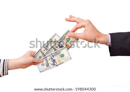 The man arm is dragging 100 dollars banknote - stock photo
