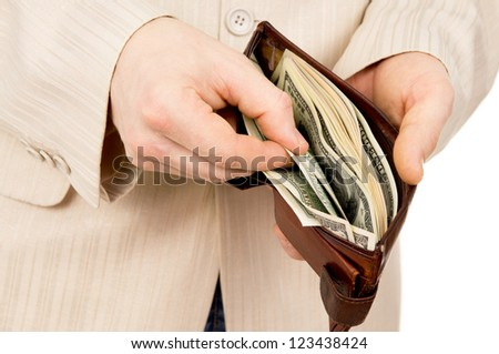 the man counted out the money wallet isolated on white background - stock photo