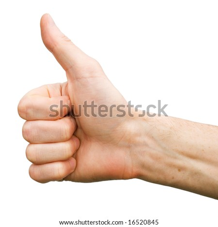 The man hand on white background (thumb up)