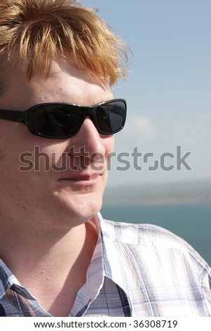 The man has summer vacation in Armenia - stock photo