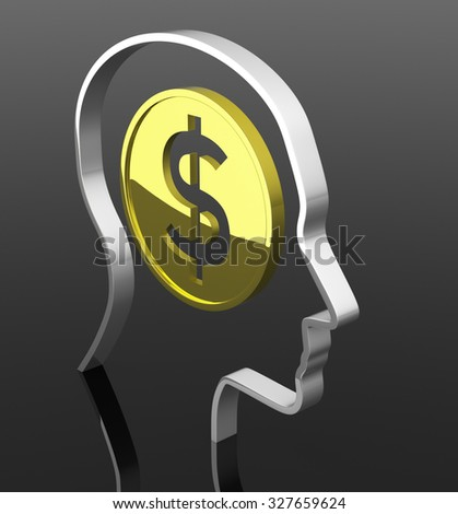 The Man Head with Dollar Coin Inside. 3D Rendering - stock photo