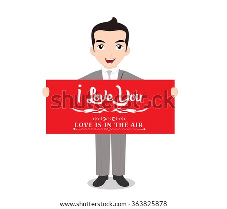 The man holding happy valentines day note - stock photo