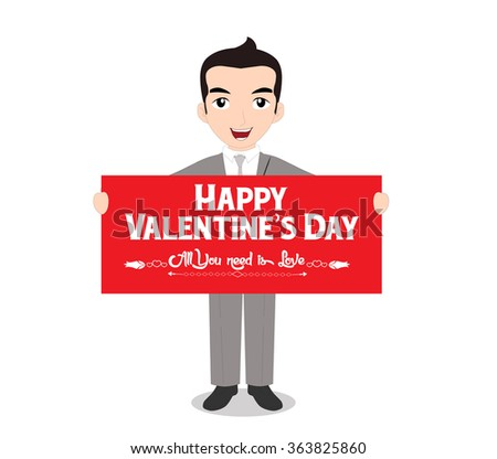 The man holding happy valentines day note. i love you - stock photo