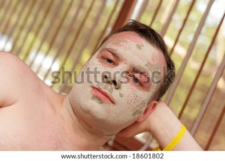 The man in a cosmetic mask, Turkey - stock photo