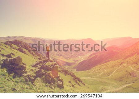The man in the mountains - instagram style - stock photo