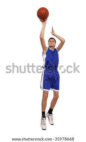 The man in the sports form jumps and is going to throw a ball