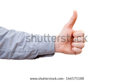 The man's hand indicate all-right sign - stock photo