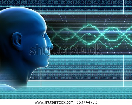 The man's head on an abstract background. Binary code. The virtual online space. A high resolution.
