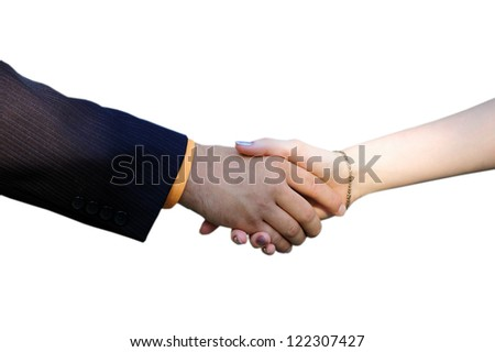 The man shakes a hand to the girl on a white background