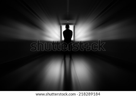 The man standing in front of the window, Black and white abstract design