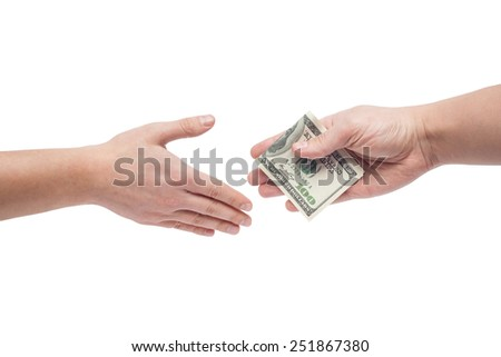 the man takes a bribe isolated on white background - stock photo
