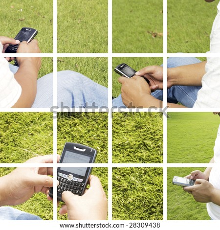 The man using cell phone outdoors. - stock photo