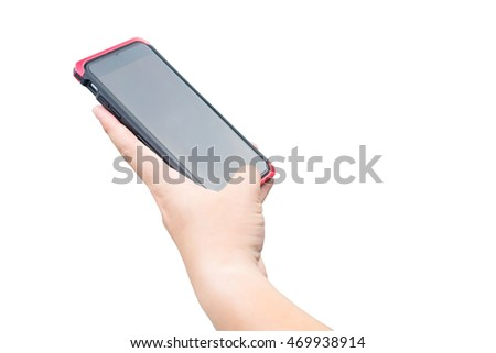 The man using smart phone on white isolated background with has clipping paths.