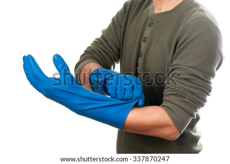 Gloves hand job rubber wearing