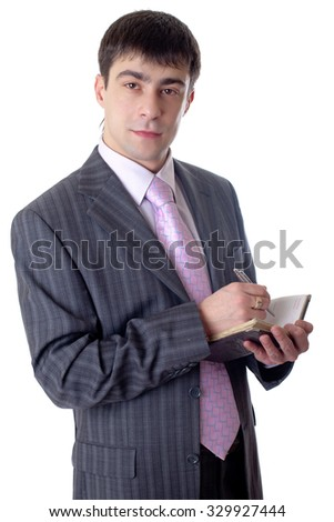 The man with a ball pen and to notebooks in hands on a white background