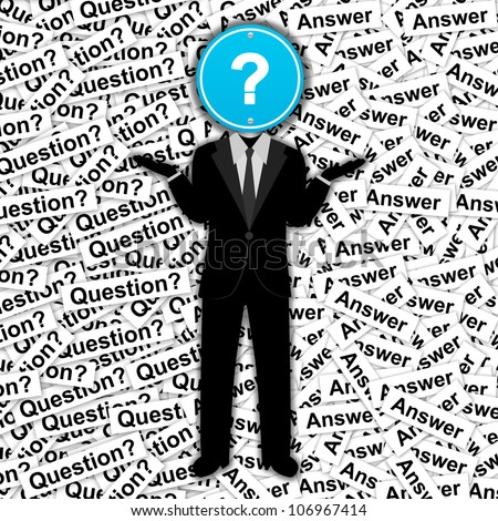 The Man With Blue Question Mark Road Sign Head Stand on Many Question Label Background - stock photo