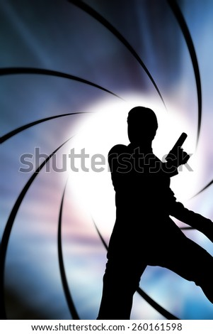 The Man with handguns in diaphragm graphic background - stock photo