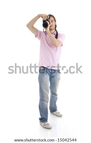 The man with the camera isolated on a white background