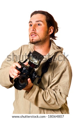 The man with the camera on a white background
