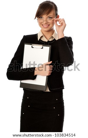 The manager with white blank paper in the hands making a presentation - stock photo