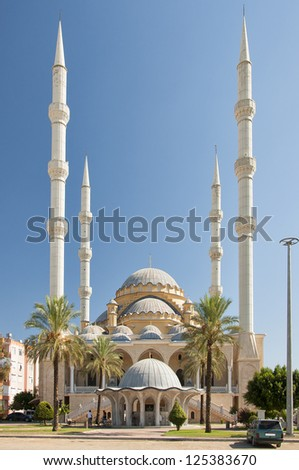 The Manavgat mosque is the largest mosque in the Antalya region of Turkey. - stock photo