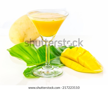 The mango juice on white background for decorate project. - stock photo
