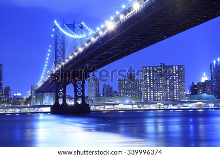 The Manhattan Bridge and Manhattan as seen from across the East River in the early evening.