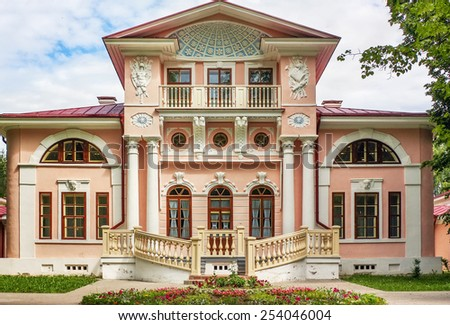The manor Brjanchaninovyh is near to the city of Vologda and is constructed in style of early classicism, Russia - stock photo