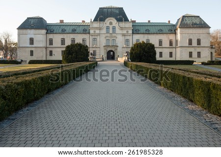 The manor house in Humenne, Slovakia - stock photo