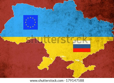 The map and the flag of Ukraine on a red background with the flags of European Union and Russia - stock photo