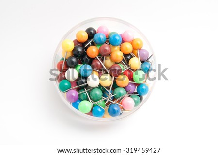 The map pins with colourful head on white background