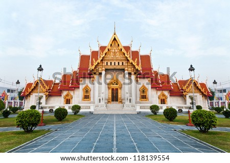 The Marble Temple (Wat Benchamabophit)  Bangkok, Thailand. it is one of Bangkok's most beautiful temple and a major tourist attraction ,open to the public to watch and allowed to take photos. - stock photo