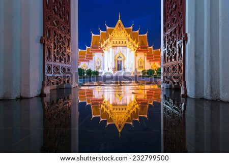 The Marble Temple, Wat Benchamabopit Dusitvanaram in Bangkok, Thailand - stock photo