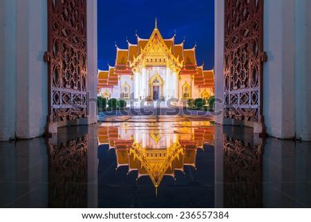 The Marble Temple, Wat Benchamabopit Dusitvanaram in Bangkok, Thailand - stock photo