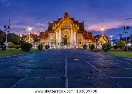 The Marble Temple, Wat Benchamabopitr Dusitvanaram Bangkok THAILAND - stock photo