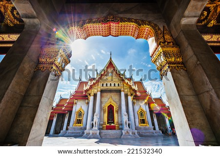 The Marble Temple, Wat Benchamabopitr Dusitvanaram Bangkok THAILAND - stock photo