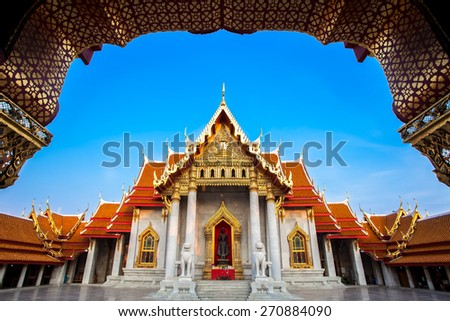 The Marble Temple, Wat Benchamabopitr Dusitvanaram Bangkok, Thailand - stock photo