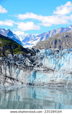 The Margerie Glacier on a sunny day in Glacier Bay National Park - stock photo