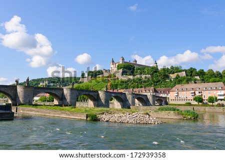 The Marienberg fortress and the Old Main Bridge in Wurzburg, Germany