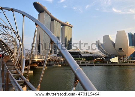 The Marina Bay Sands Resort Hotel & Helix Bridge in Singapore. It is an integrated resort & the worlds most expensive standalone casino property.