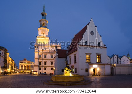 The Market Square in Poznan and Town Hall, Poland. Poznan is host city Uefa Euro 2012 - stock photo