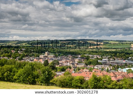 The Market Town of Hexham / The historic Market Town of Hexham sits in the Tyne Valley in Northumberland. The skyline is dominated by the Abbey - stock photo