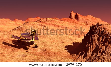The Mars rover image on Mars - stock photo