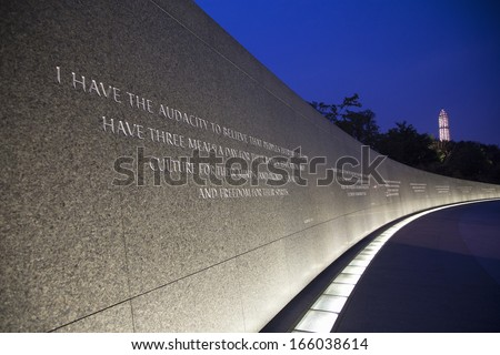 The Martin Luther King Jr. Memorial a monument to civil rights leader. Located in Washington, D.C., the memorial is the 395th National Park, and is located on the National Mall on the Tidal Basin.  - stock photo