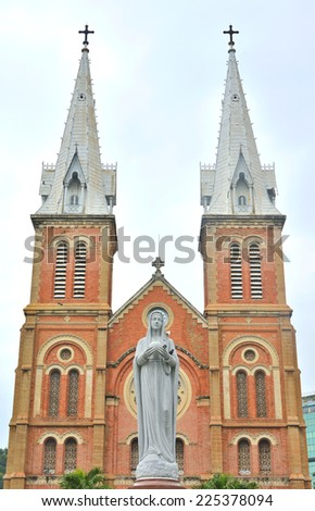 The Mary virgin in front of Saigon Notre-Dame Basilica in Ho Chi Minh City, Vietnam - stock photo