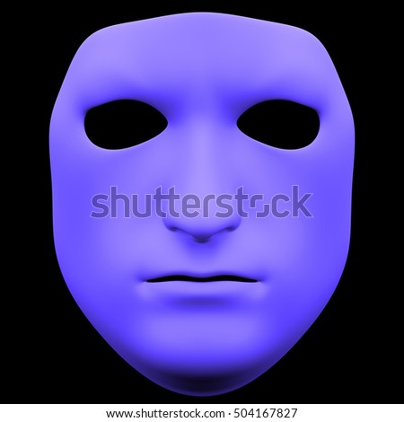 The mask isolated on black background. Rough mask, front view, isolated on black background. 3D illustration. 3D render rough mask isolated on black background
