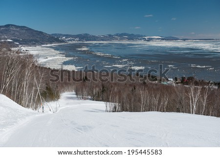 The Massif ski area in Quebec with an enchanting view over the frozen Saint Lawrence river, Quebec, Canada