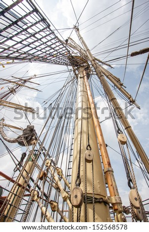 the mast of a sailing ship - stock photo