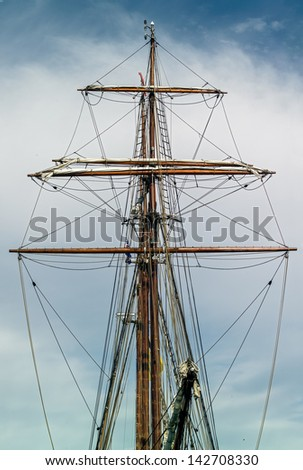 The masts and rigging boat in the port of Reykjavik city, Iceland - stock photo