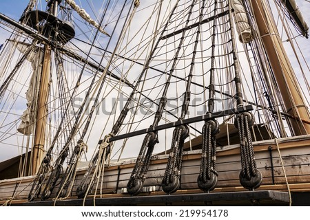 The masts and rigging of the tall ship U.S. Brig Niagara against a blue, cloud filled sky.
